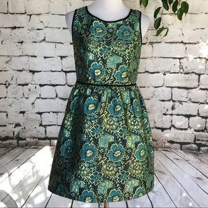 Xhilaration Blue/Green/Gold fit and flair dress